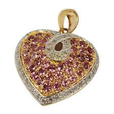 3288- *10K YELLOW GOLD HEART PENDANT PAVE PINK TOURMALINE WITH DIAMONDS 4.3GRAMS