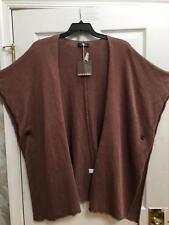 NWT Eskandar $1390 Chestnut Brown  Long Linen Tabard Cardigan Sweater
