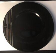 Vintage Black Glass Serving Plate w/Silver Monogrammed Overlay ~ ECR