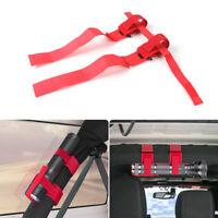 Roll Bar Mount Mag Flashlight Holder Straps Fits for Jeep Wrangler TJ JK JL Red