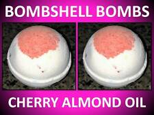 2 PACK SET! LARGE 4.5 OZ BOMBSHELL BATH BOMB FIZZY CHERRY ALMOND OIL RED & WHITE