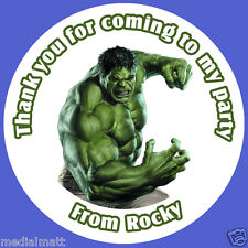 35 x Personalised Marvel Hulk Birthday Stickers Party Bag Thank You
