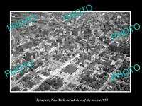 OLD LARGE HISTORIC PHOTO SYRACUSE NEW YORK AERIAL VIEW OF THE TOWN c1950