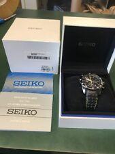 Seiko Sportura SNAE67 Men's Black Leather Strap Alarm Chronograph Sports Watch