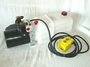 12v DC HYDRAULIC POWER PACK DOUBLE ACTING WITH 5L PLASTIC TANK & PENDENT