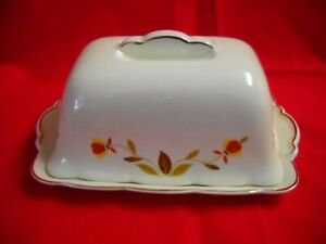 Hall China Autumn Leaf One Pound Butter with Gold Trim