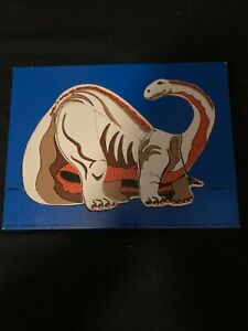 FREE SHIP DATED 1987 GRAY BRONTOSAURUS APP 9X12 IN WOODEN PUZZLE JUDY INSTRUCTO