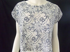 TEMT Womens White & Blue top size M