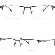 Gray Grey Half Rim Thin Light Men's Women's Titanium Frames Prescription Glasses