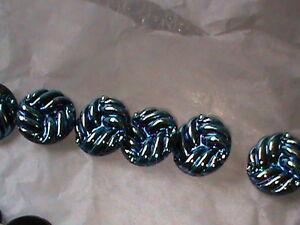 MINT Vintage 4 Packs Czech Republic Glass Buttons Blue iridescent Weave SEE !
