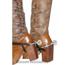 A479 Cowboy Boot Silver Spurs Mens Costume Shoe Accessory Wild West Western