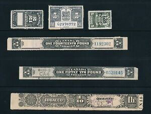 Canadian Tobacco strips, stamps, (6), used