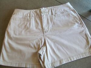 St. John's Bay Beige Mid-Rise Cotton/Spandex Shorts Size 6-Nice!