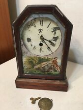 Beautiful Antique Canadian Villa Label Cottage Clock Great Reverse Painting