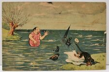 Comic Man Swimming Dog Kicks Clothes in Water Postcard B26