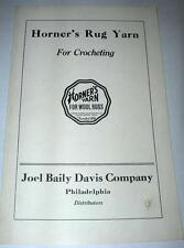 VINTAGE HORNER'S RUG YARN FOR CROCHETING INSTRUCTION BOOKLET FOR 5 COMPLETE RUGS