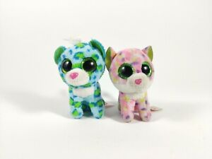 Ty Beanie Boo Kittens Sophie & Leona Pink & Blue Spotty Cats approx 3in/8cm