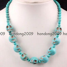 New Howlite Turquoise Blue Skull Beads Necklace 18''L