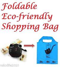 5 x Kitty Cat Shopping Bag Foldable Reusable Eco Lady Fashion Design Decor Gift