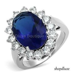 WOMEN'S ROYAL INSPIRED HALO BLUE SAPPHIRE AAA CZ STAINLESS STEEL FASHION RING