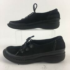 Clarks Womens Sneakers Black 31058 Low Top Lace Up Split Toe Leather 7 M