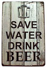 Save Water Drink Beer Metal Tin Sign Plaque Pub Club Bar Wall Door 30 x 20 cm