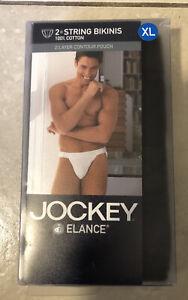 Vintage 2003 2 Jockey Elance Men's String Bikini Black Underwear XL New in Box