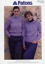 PATONS 4807 - LADIES DK LACY YOKED CARDIGAN & SWEATER KNITTING PATTERN 32/42in