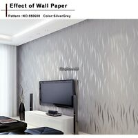 10m Natural Non-woven Roll 3D Embossed Flocking Waves Textured Wallpaper US Ship
