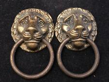 Poignées Bronze Ancienne XIX ème Sècles Prises Boutons Tête de Lions