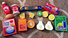 Wood Wooden Play Food & Grocery Lot~Orange Juice, Ketchup, Soup, Cereal, Waffles