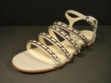 Chanel Grey 36/5.5 Leather 4 Straps Silver Woven Chain CC Sandals Flats New