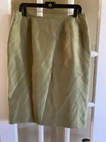 Kasper Silk Lined Pencil Skirt Size 12 Olive Green
