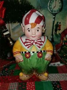 "2000 Mary Engelbreit Boy Elf Christmas Holiday Cookie Jar 14"" Red Green Yellow"
