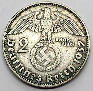 1937 Germany 2 Mark Third Reich Reichsmark Silver Coin (G578)