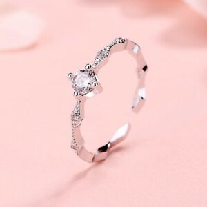 Crystal Stone Adjustable End Ring 925 Sterling Silver Womens Ladies New Gift