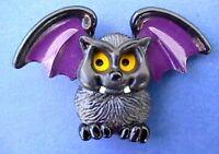 Hallmark PIN Halloween Vintage BAT Vampire Black MOVEMENT Holiday Brooch