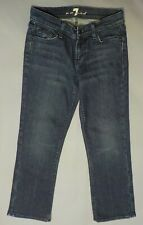 7 For All Mankind Mia Cropped Jeans Dark Wash Low Rise Whiskered  Womens 26