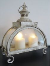 Antique French Country Chic Cream Large Lantern Candle Holder Home Decor New