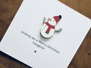 Personalised Handmade Christmas Cards - Wooden Snowman 13.5cm X 13.5cm