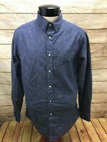 Cremieux Denim Pearl Snap Button Front Shirt LS Mens L Blue