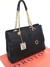 New RRP$695 OROTON Alpine Chain Tote Handbag Shoulder Bag Leather Black O Charm