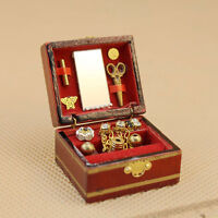 1:12 Scale Dollhouse Miniature Filled Wooden Jewelry Box Bedroom Accessories New