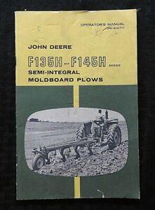 GENUINE 1965 JOHN DEERE F135H & F145H MOLDBOARD PLOWS OPERATORS OWNER MANUAL