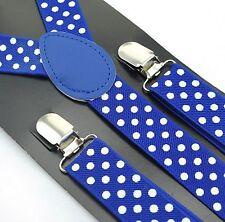 bretelles pour Pantalon HOMMES FEMMES jeans 3 Clips Bleu royal à pois