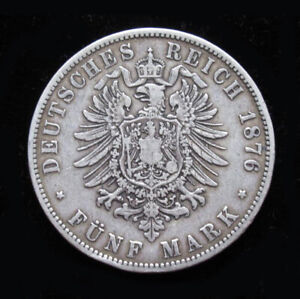 1876 A 5 Mark Germany SILVER