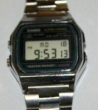 vintage mens Casio Alarm Chrono Water Resist digital watch A158W Stainless Steel