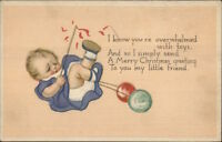 Christmas - Cute Baby - Overwhelmed With Toys c1915 Postcard