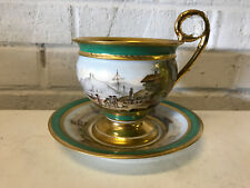 Antique French Sevres Painted Porcelain Large Cabinet Cup & Saucer Town Boats
