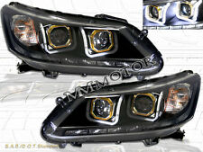 FOR 2013-2014 HONDA ACCORD 4DR SEDAN LED U-BAR HALO PROJECTOR HEADLIGHTS BLACK